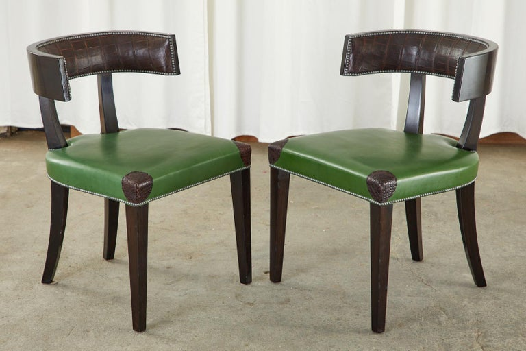 Hand-Crafted Set of Six Billy Haines Attributed Hollywood Regency Dining Chairs For Sale
