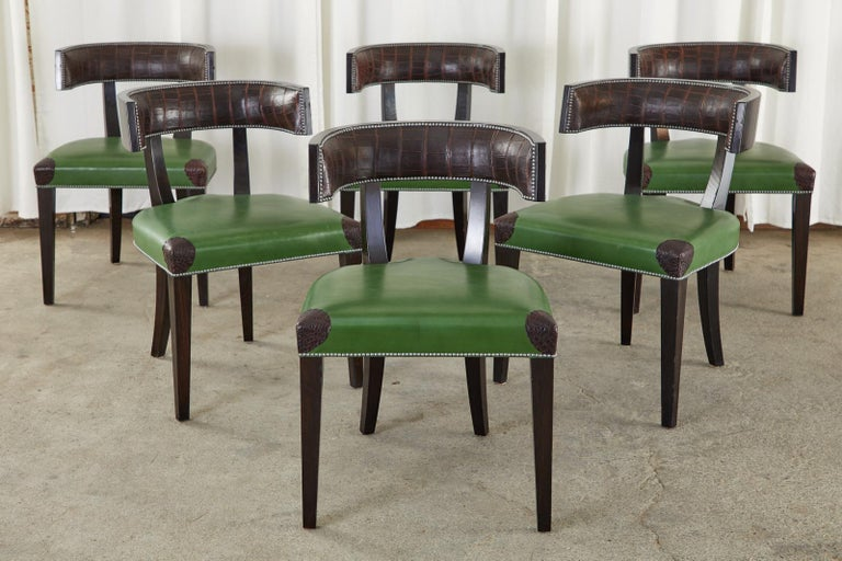 Leather Set of Six Billy Haines Attributed Hollywood Regency Dining Chairs For Sale