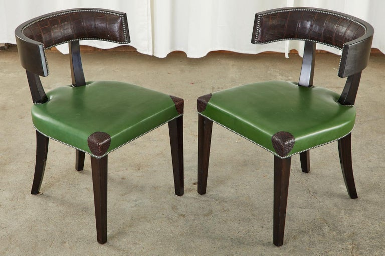 Set of Six Billy Haines Attributed Hollywood Regency Dining Chairs For Sale 1
