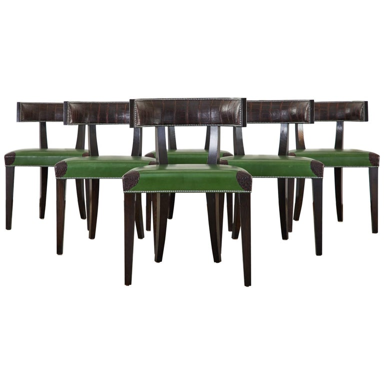 Set of Six Billy Haines Attributed Hollywood Regency Dining Chairs For Sale