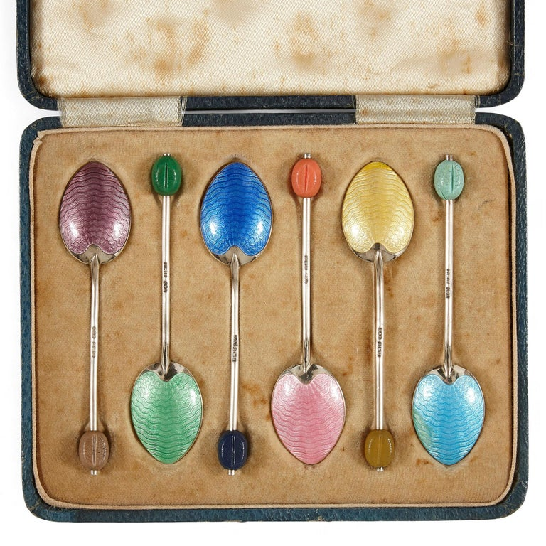English Set of Six Birmingham Coloured Enamel and Silver Spoons For Sale