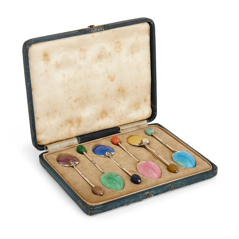 Set of Six Birmingham Coloured Enamel and Silver Spoons In Good Condition For Sale In London, GB