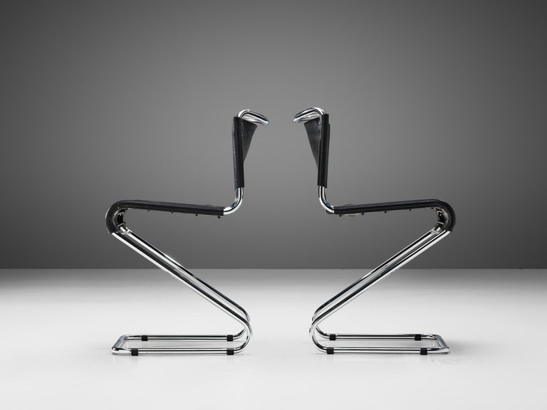 Steel Set of Six 'Biscia' Chairs in Black Leather by Pascal Mourgue For Sale