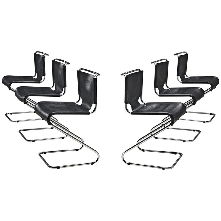 Set of Six 'Biscia' Chairs in Black Leather by Pascal Mourgue For Sale
