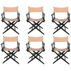 Set of Six Black and Tan Leather Casual Director's Chairs by Telescope Co.