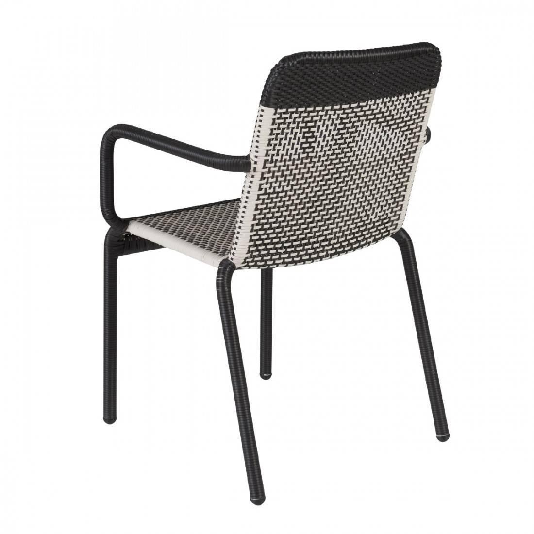 Mid Century Modern Set Of Six Black And White Resin Stackable Armchairs For  Sale