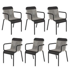 Set of Six Black and White Resin Stackable Armchairs