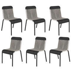 Set of Six Black and White Resin Stackable Chairs