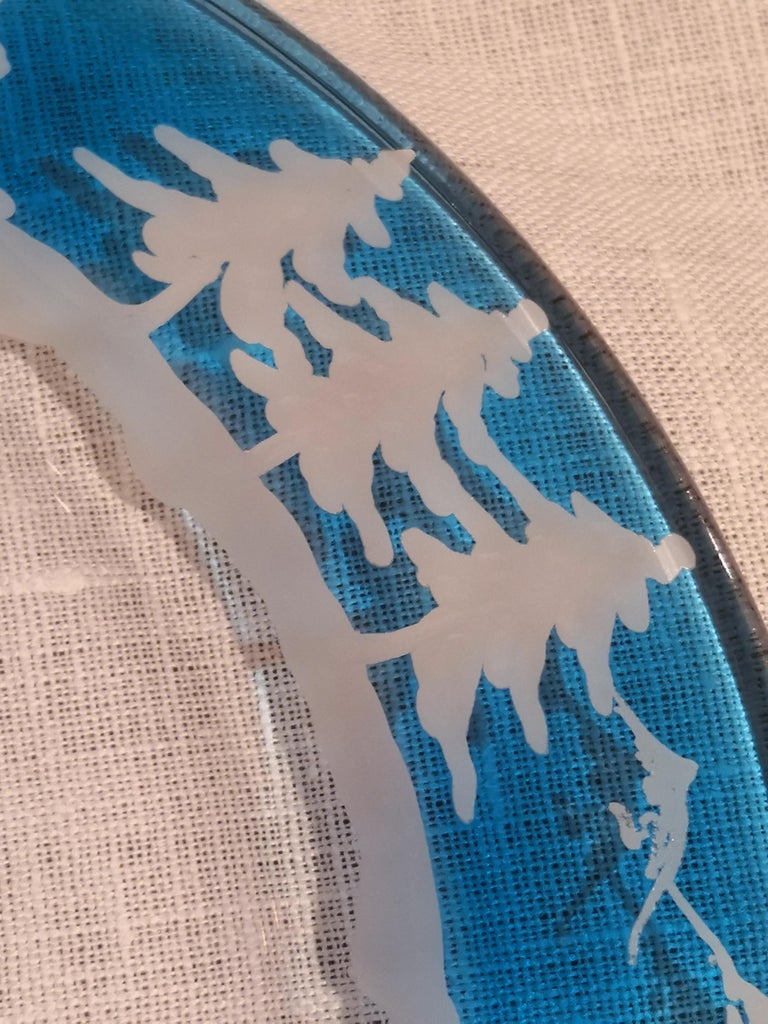 German Set of Six Black Forest Hand-Engraved Glass Plates Sofina Boutique Kitzbuehel For Sale