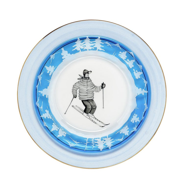 Set of Six Black Forest Hand-Engraved Glass Plates Sofina Boutique Kitzbuehel In New Condition For Sale In Kitzbuhel, AT