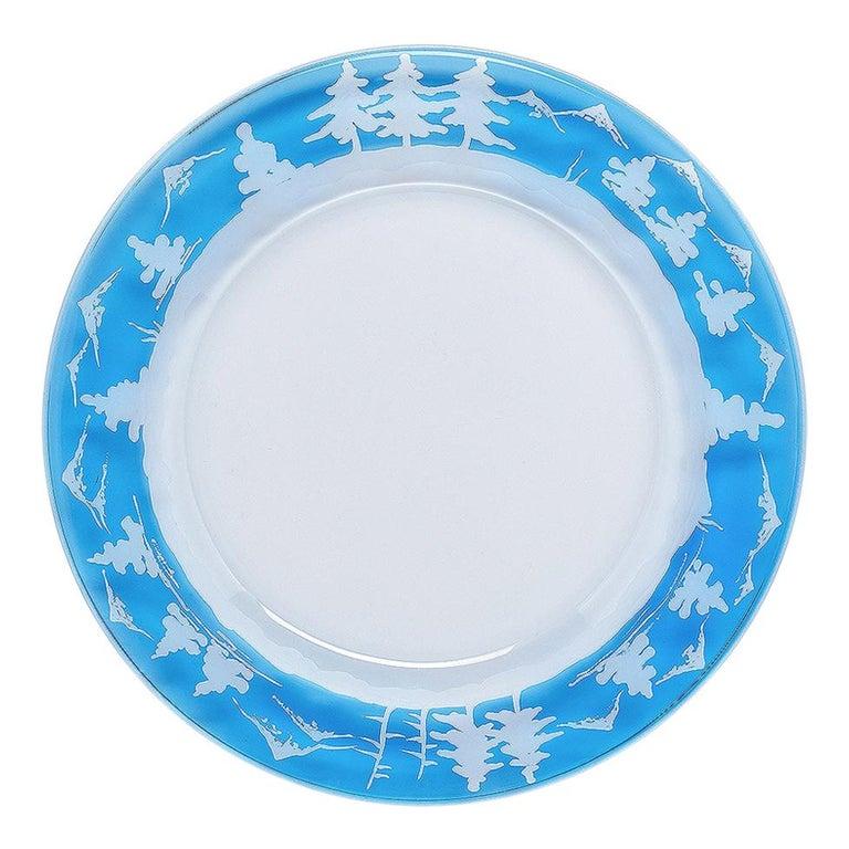 Set of Six Black Forest Hand-Engraved Glass Plates Sofina Boutique Kitzbuehel For Sale