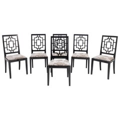 Set of Six Black Lacquered Asian-Style Dining Chairs, 1970s