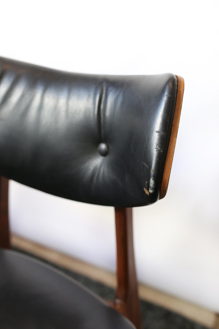 Mid-20th Century Set of Six Danish Modern Teak and Black Leather Dining Chairs, circa 1960s For Sale