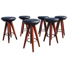 Set of Six Black Leather and Wood Bar Stools