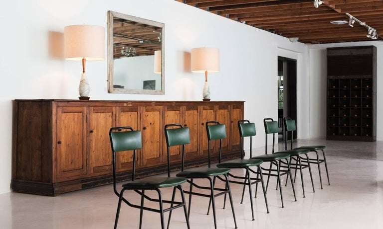 Set of Six Black Metal and Army Green Dining Chairs, circa 1950 In Good Condition For Sale In Culver City, CA