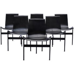 Set of Six Black T-Chairs by William Katavolos for Laverne International