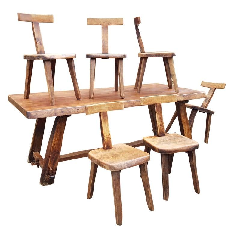 Set of Six Black Walnut Finnish Chairs and Table by Olavi Hänninen