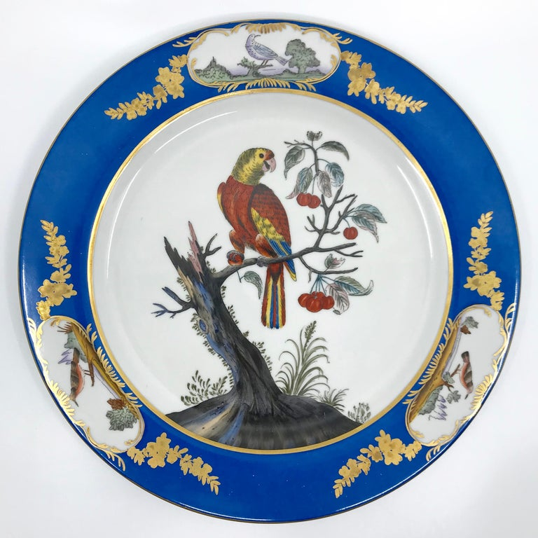 European Set of Six Blue and White Bird Plates For Sale