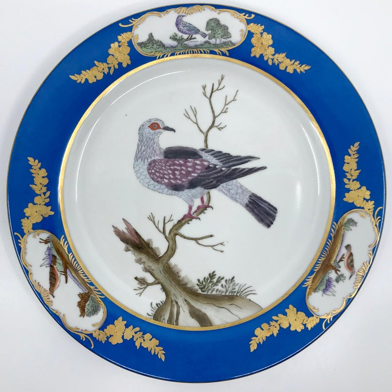 20th Century Set of Six Blue and White Bird Plates For Sale