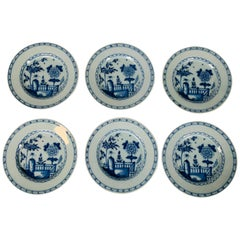 "Set of Six Blue and White Dutch Delft Dishes Made by ""The Axe"", circa 1800"