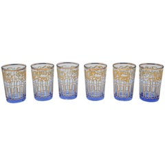 Set of Six Blue Glasses with Gold Moorish Design