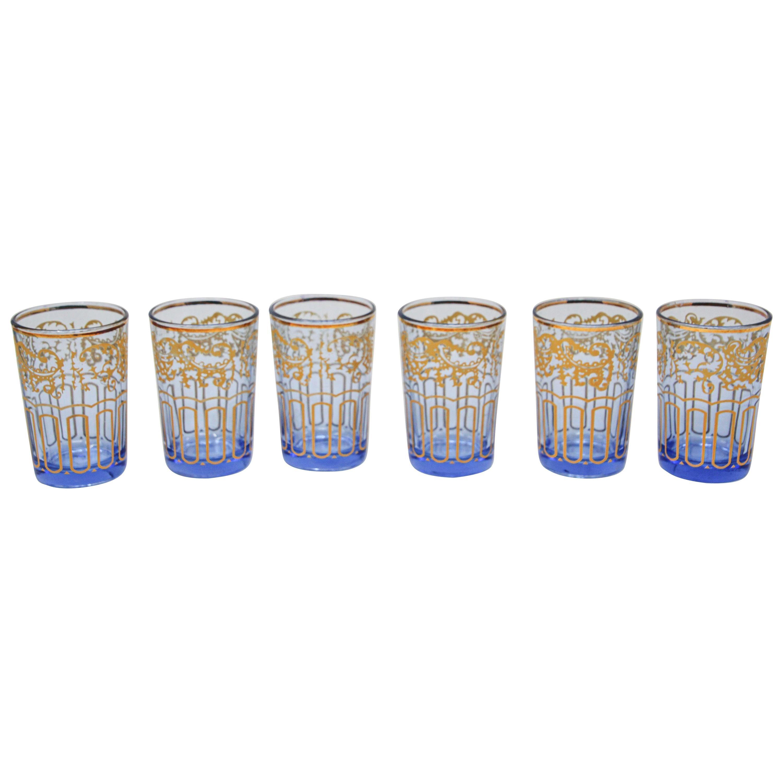 Set of Six Blue Glasses with Gold Moorish Design