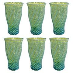 Set of Six Blue Opaline Glass Tumblers