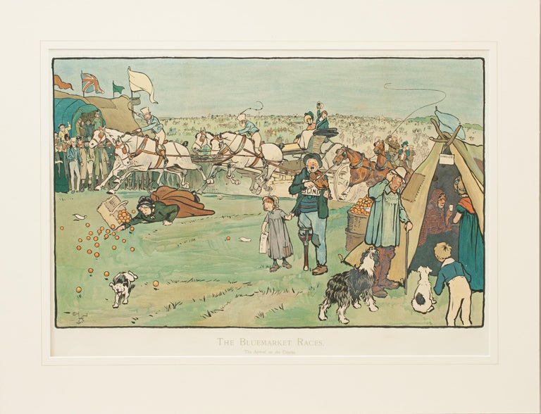 Sporting Art Set of Six Bluemarket Races Prints by Cecil Aldin For Sale