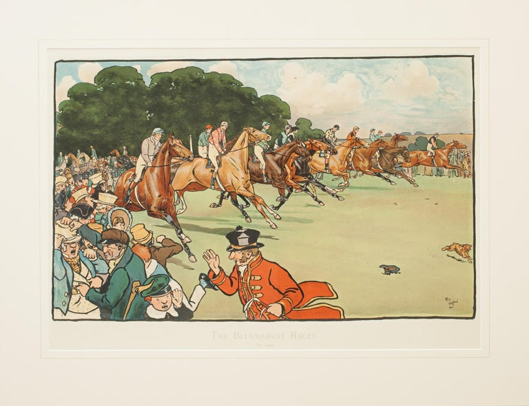 English Set of Six Bluemarket Races Prints by Cecil Aldin For Sale