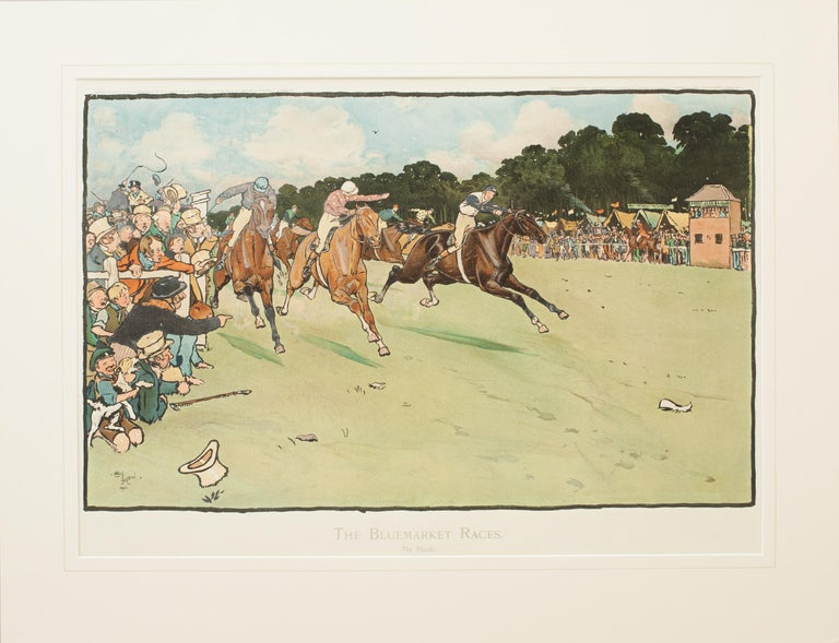 Early 20th Century Set of Six Bluemarket Races Prints by Cecil Aldin For Sale