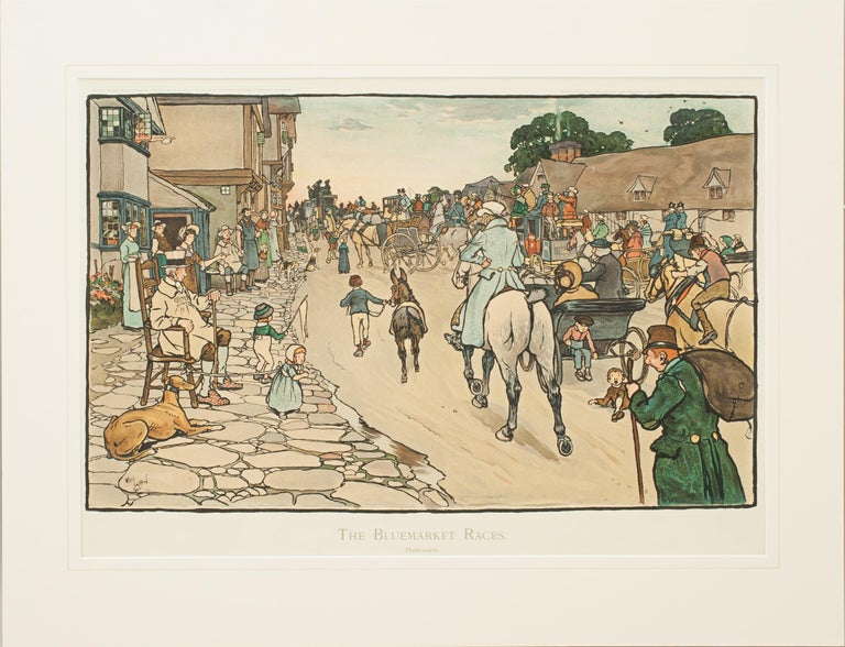 Paper Set of Six Bluemarket Races Prints by Cecil Aldin For Sale