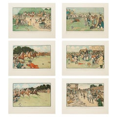 Set of Six Bluemarket Races Prints by Cecil Aldin