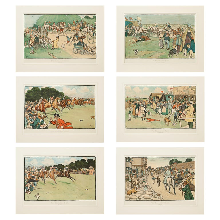 Set of Six Bluemarket Races Prints by Cecil Aldin For Sale