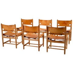 Set of Six BM 3237 Dining Chairs by Børge Mogensen, Denmark, 1960s