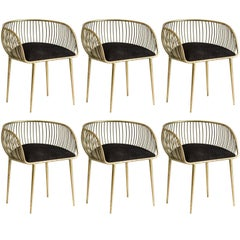 Set of Six Gold Metal and Black Fabric Dining Armchairs