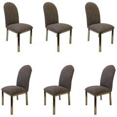 Set of Six Brass and Fabric Dining Chairs