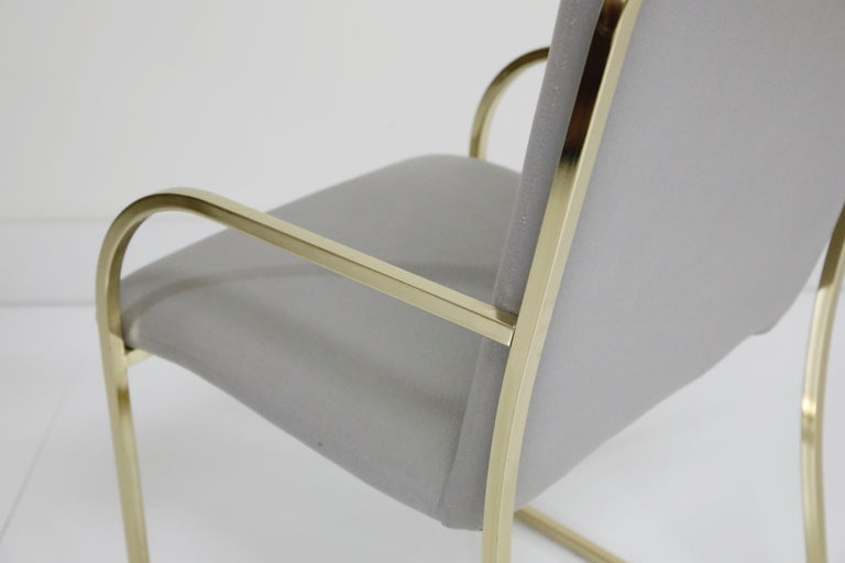 Set of Six Brass Dining Chairs by Design Institute America, Signed For Sale 7