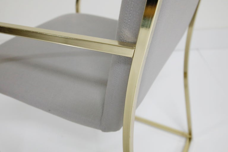 Set of Six Brass Dining Chairs by Design Institute America, Signed For Sale 8