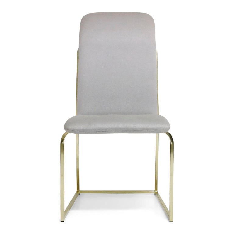 Mid-Century Modern Set of Six Brass Dining Chairs by Design Institute America, Signed For Sale