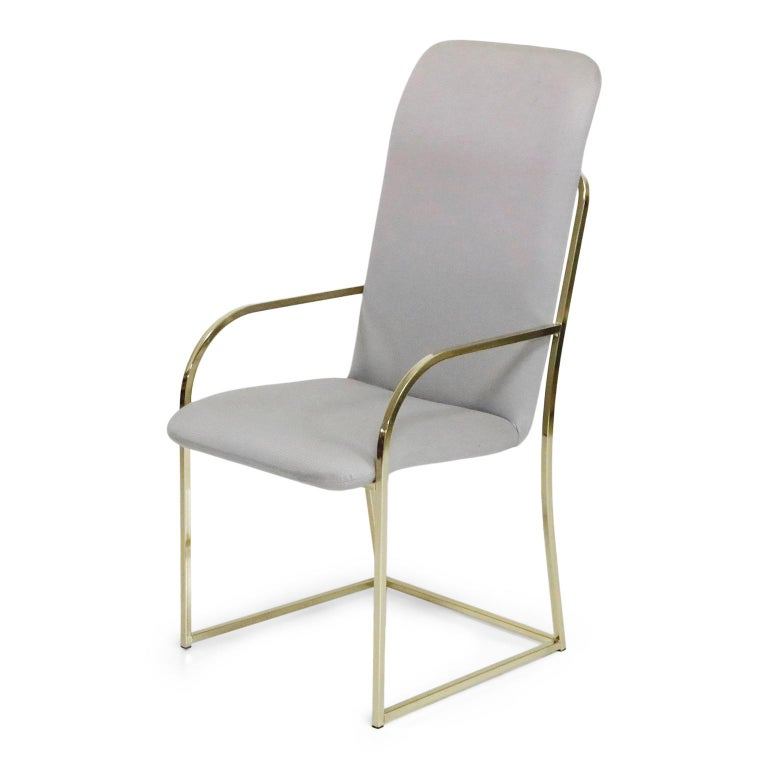 American Set of Six Brass Dining Chairs by Design Institute America, Signed For Sale