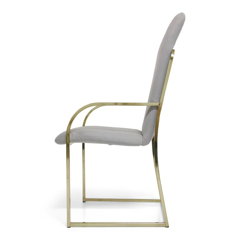 Late 20th Century Set of Six Brass Dining Chairs by Design Institute America, Signed For Sale