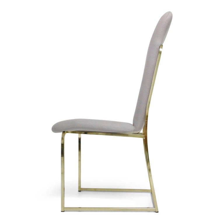Set of Six Brass Dining Chairs by Design Institute America, Signed For Sale 1