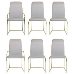 Set of Six Brass Dining Chairs by Design Institute America, Signed