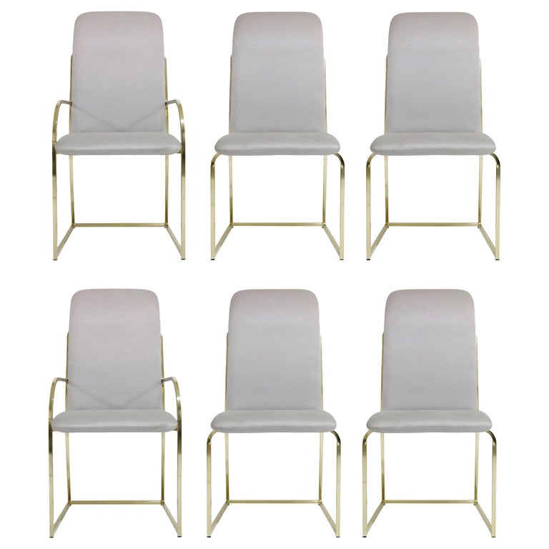 Set of Six Brass Dining Chairs by Design Institute America, Signed For Sale