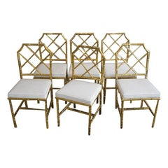 Set of Six Brass Faux Bamboo Side Chairs by Mastercraft