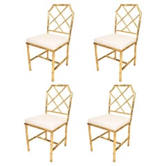 Set of Six Brass Faux Bamboo Upholstered Side Dining Chairs