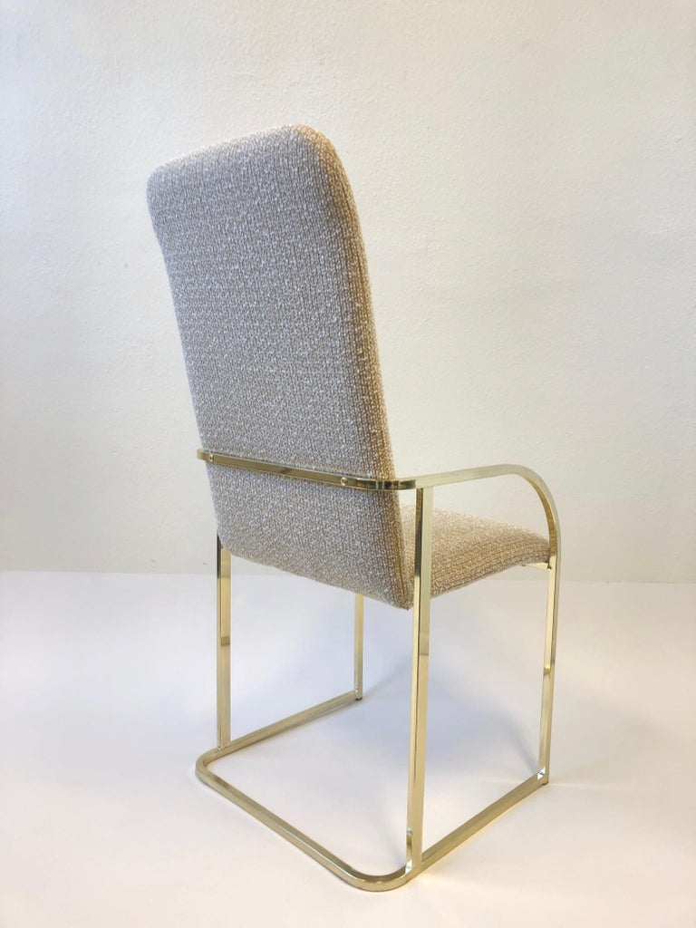 Modern Set of Six Brass High Back Dining Chairs by DIA For Sale