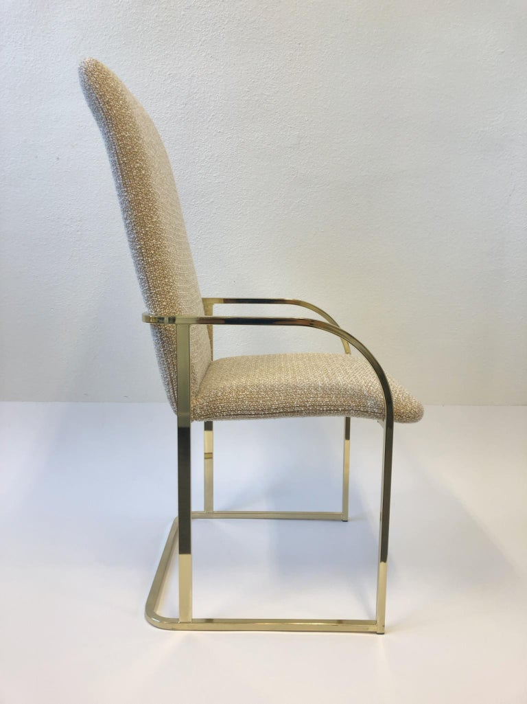 American Set of Six Brass High Back Dining Chairs by DIA For Sale