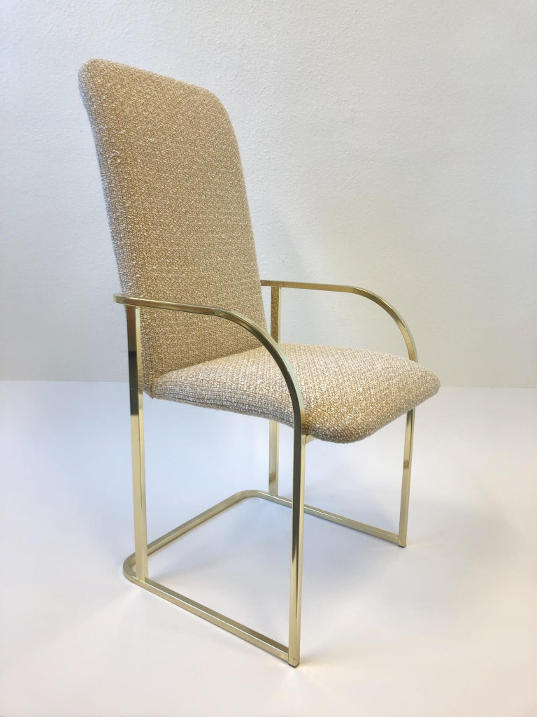 Polished Set of Six Brass High Back Dining Chairs by DIA For Sale