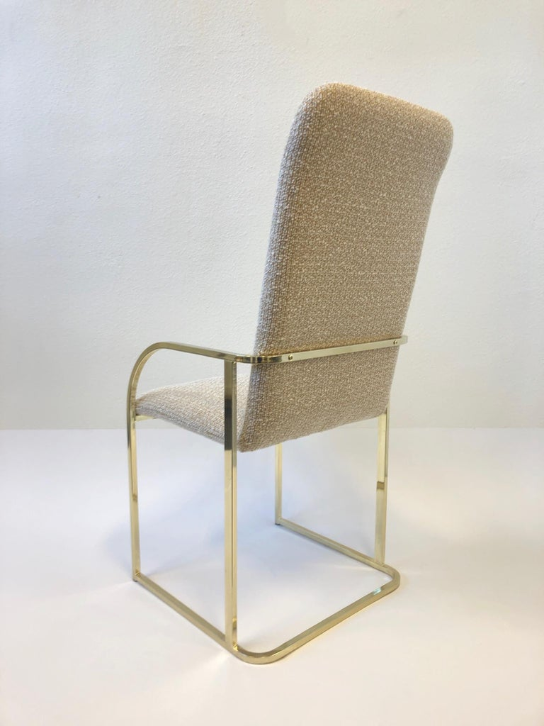 Late 20th Century Set of Six Brass High Back Dining Chairs by DIA For Sale